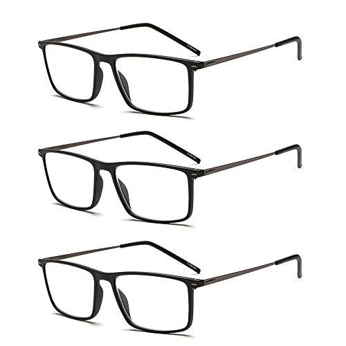 Suertree 3 Pack Reading Glasses Ultralight Computer Glasses Women Men Slim Readers Vintage Stainless Steel Frame Eyewear BM501