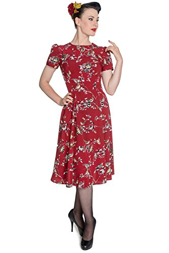 Hell Bunny New Birdy Vintage Landgirl 40's Dress (XL - US 12, Red)