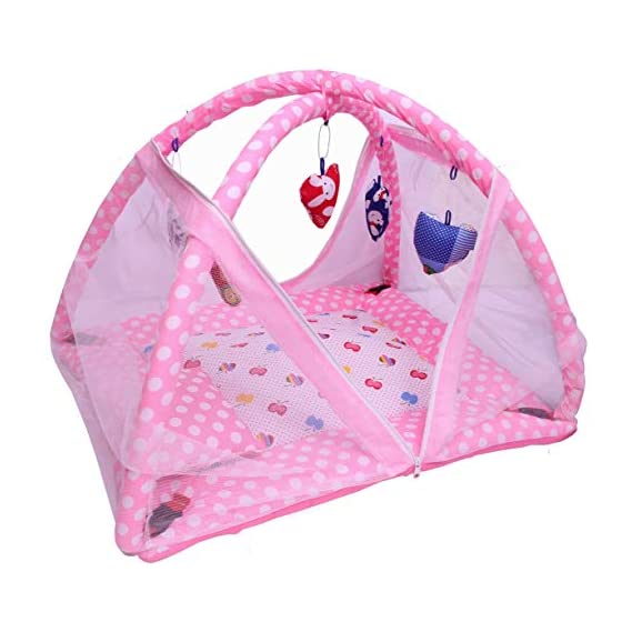 baba ji enterprises Baby Kick and Play Gym with Mosquito Net and Baby Bedding Set (Pink Bunny Print)