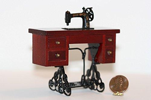 Dollhouse Miniature Dark Wood Vintage Style Table Sewing Machine (Vintage Wood Doll)