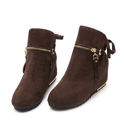 Heels AgooLar Solid Women's Round Frosted Brown High Closed Boots Ankle Toe high XzXqrF
