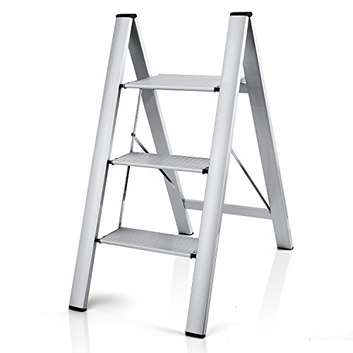 Delxo 2 in 1 Lightweight Aluminum 3 Step Ladder Stylish Invisible Connection Design Step Ladder with Anti-Slip Sturdy and Wide Pedal Ladder for Photography