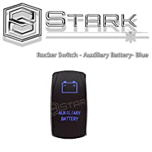 Stark Laser Etched LED Rocker Switch Dual Light 20A 12V ON / OFF 5PIN - BLUE - AUXILIARY BATTERY Design