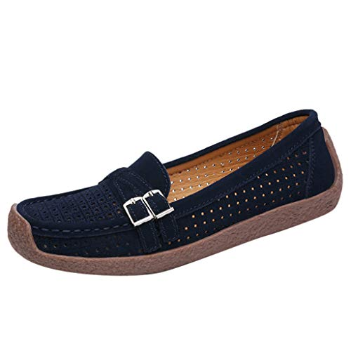 - SSYongxia❤ Women's Lightweight Casual Shoes - Hollow Walking Mocassin Driving Boat Shoe Slip-on Shoes Blue