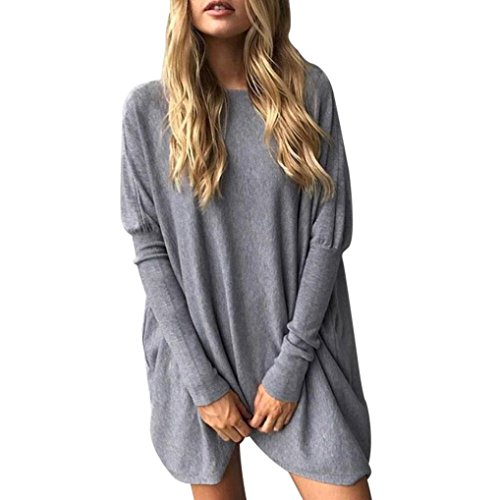 Sunbona Women's Solid Long Sleeve Blouse Casual Ladies O Neck Loose Blouse Tops T Shirt (Asian Size:S, Gray) by Sunbona