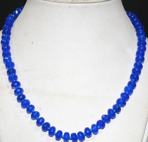 - Gozebra(TM) 5x8mm Faceted Blue Sapphire Abacus Gemstone Necklace 18