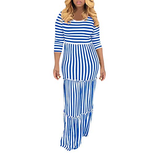 Sunhusing Ladies Round Neck 3/4 Sleeve Horizontal Vertical Stripe Printed Ruffled Lace Trim Mopping Long Dress Blue