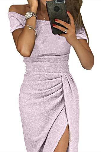Tiksawon Formal Dresses for Women Plus Size Sequin Off Shoulder Elegant Slit Short Sleeve Autumn Bodycon Midi Dress Evening Grown Light Purple XL