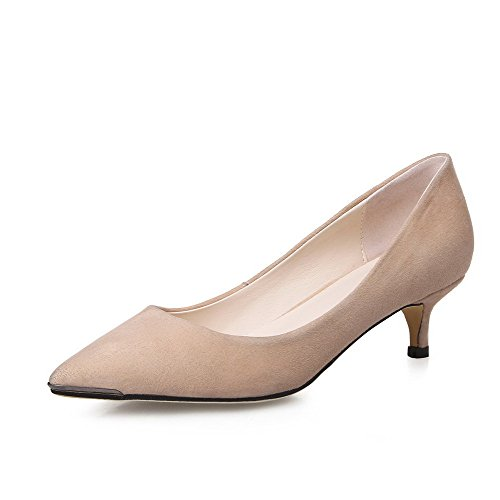mujeres VogueZone009 Heels Pull cerrada Solid albaricoque en Kitten Zapatos Pumps Las heladas punta on fw5AHwZq