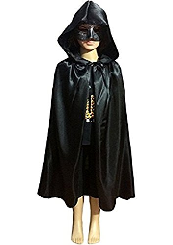 Kids Velvet Halloween Costume Long Witch Vampire Hooded Cloak Cape Fancy Dress (Kids Wizard Outfit)