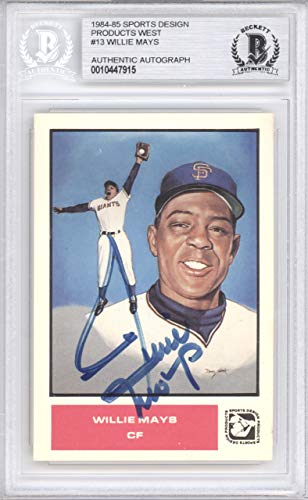 Willie Mays Autographed 1984 Sports Design Card #13 San Francisco Giants Beckett BAS #10447915