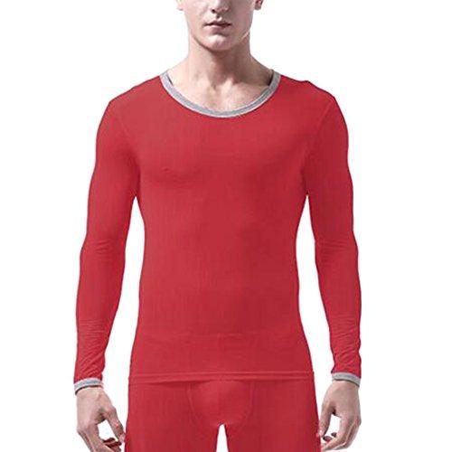 moichien Extensible Chaud Soie En Thermiques shirt Rouge Hauts Longues Garçon Hommes Ai T Manches Rpwqd7Zd