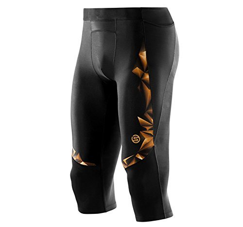 Skins Men's A400 Compression 3/4 Tights, Black/Gold, Small by Skins (Image #6)