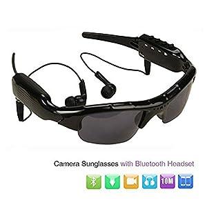 Sunglasses Camera, HD 1080P Camera Mini DV Camcorder Sunglasses Video Recorder w/Bluetooth Headphones Stero Music Player Mini Camera Glass Video for Outdoor Sports