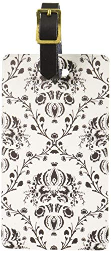 Graphics & More Damask Elegant Black Luggage Tags Suitcase Carry-on Id, White