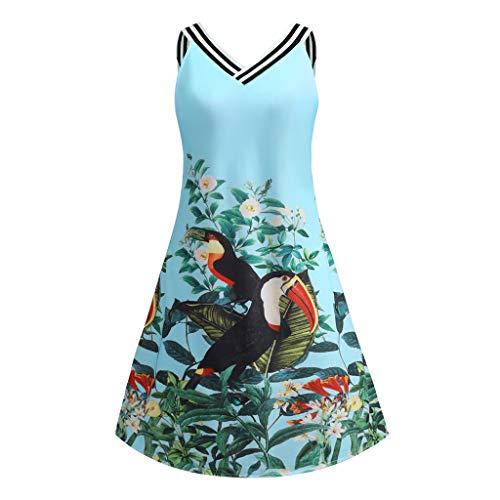 iDWZA Women Vintage Bodycon Sleeveless V Neck Floral Bird Print Party Tank Mini Dress(Blue,S)