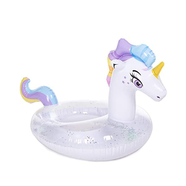 JOYIN Inflatable Unicorn Pool Float with Glitters, Tubes for Floating, Fun Beach Floaties, Pool Toys, Summer Party… 4
