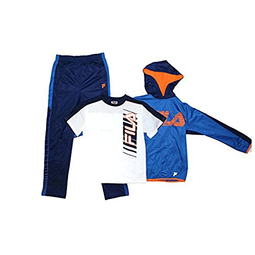 (Fila Boys Athletic Logo 3 Piece Activewear Hoodie and Pants Set (Striker Orange/Navy, Small))