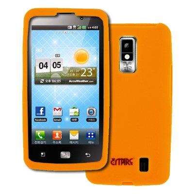 EMPIRE Verizon LG Spectrum Orange Silicone Skin Case Tasche Hülle Cover + Auto Charger (CLA)