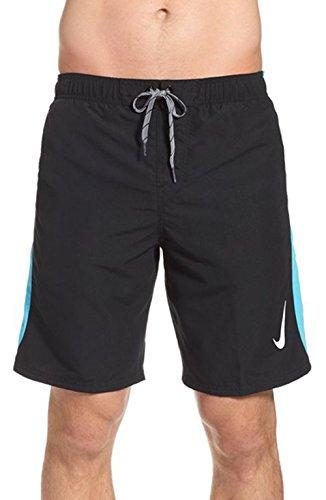 Nike Men's Side Pocket Contrasting Swim Trunk Volley Shorts (Small, Black/Aqua)