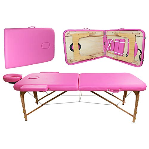 Portable 2-Fold Massage Table Bed Spa Salon Facial Tattoo Physical Therapy Pink