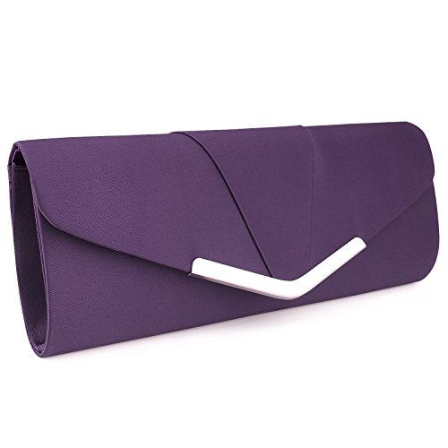 Womens Satin Clutch Evening Handbag for Party Cocktail Wedding Elegance Envelope Purse Wallet Bag Purple