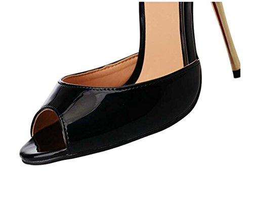 Punta 47 Talla Sandalias Zapatos Rojo de Negro Abierta Color para 50 Altos o Tacones Tama Nightclubs 40 Mujer Negro wwSqUC