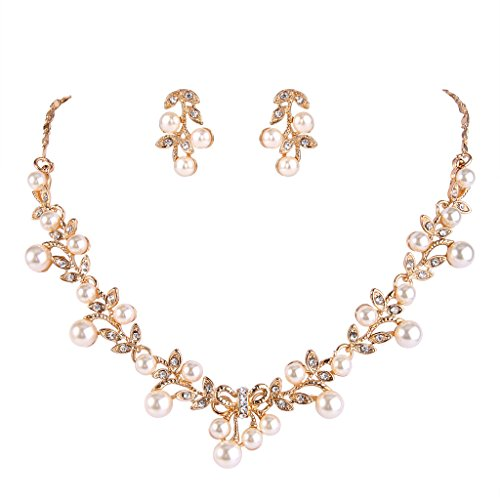 EVER FAITH Women's Simulated Pearl Vine Leaf Bowknot Necklace Earrings Set Gold-Tone