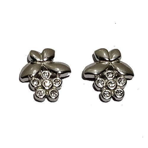 0.12 Ct Bezel Set Cubic Zirconia 14k White Gold Over 925 Silver Flower-Leaf Women's Stud Earrings ()