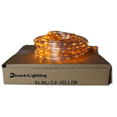 Direct-Lighting 24ft Super Bright Heavy Duty Yellow Rope Lights with 288 LEDs - Expandable to 216 Ft.