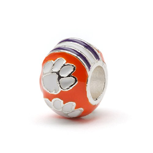 (Clemson University Bead Charm | Clemson Orange Charm | Clemson University Jewelry | Stainless Steel Clemson Gifts | Fits Most Popular Bead Charms )