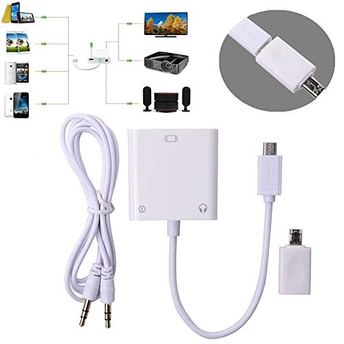 FidgetKute Micro MHL To VGA Adapter+ Audio Cable Phone Tablet To PC LCD TV Projector 1080P For Samsung Galaxy Tab 3 8.0 10.1