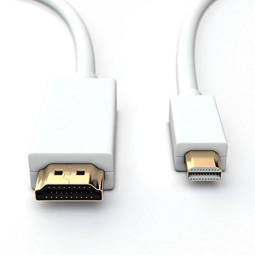 Sentivus 2m Mini DisplayPort auf HDMI Kabel (Full HD 1080p, 2-fach geschirmt, vergoldet) weiß - perfekt für Apple Geräte, PC und TV