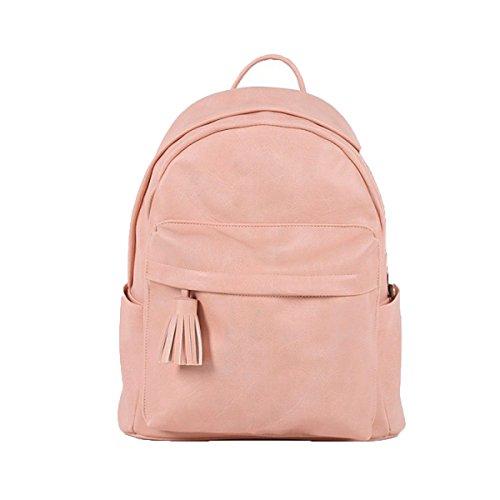 Bolso De La Escuela De Cuero Del Bolso De Hombro De La Manera De La Mochila De Las Señoras,PurpleGray Pink