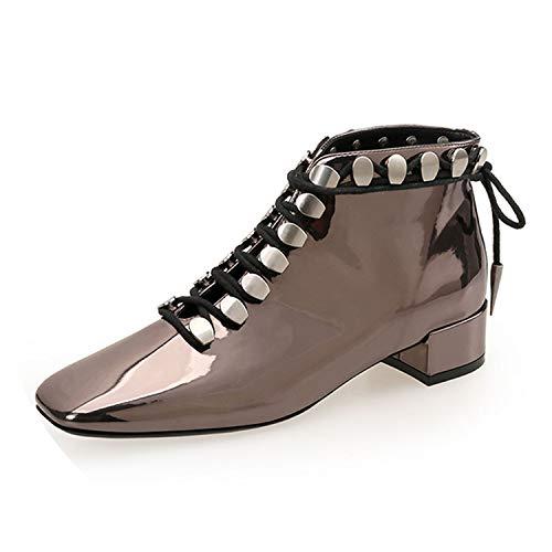 (Women Boots Lace Up High Heels Ankle Boot Female Leopard Fashion Rivet Punk Laides Shoe,Gold)