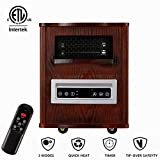 Electric Infrared Cabinet Space Heater Portable 1500W,Little Heater for Living Room Intelligent Programmable Thermostat +Remote Control
