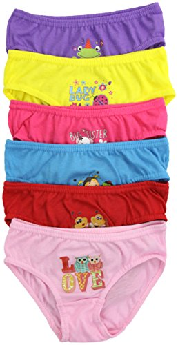 ToBeInStyle Girls' Pack of 6 Seamless Bikini Panties - Cool Cartoons - Medium