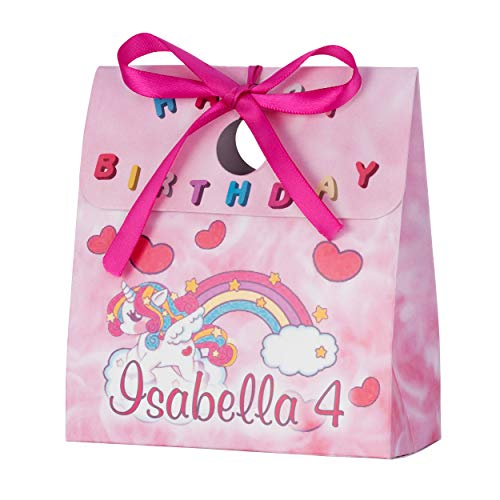 (Personalized Treat Bags for Kids | 12 Mini Treat Boxes Per Pack | Unicorn Themed | Customized Happy Birthday Party Favors for Boys & Girls | Fill with Your Treats & Gifts)