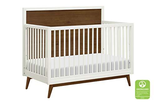 Babyletto Palma 4-in-1 Convertible Crib, White/Natural Walnut