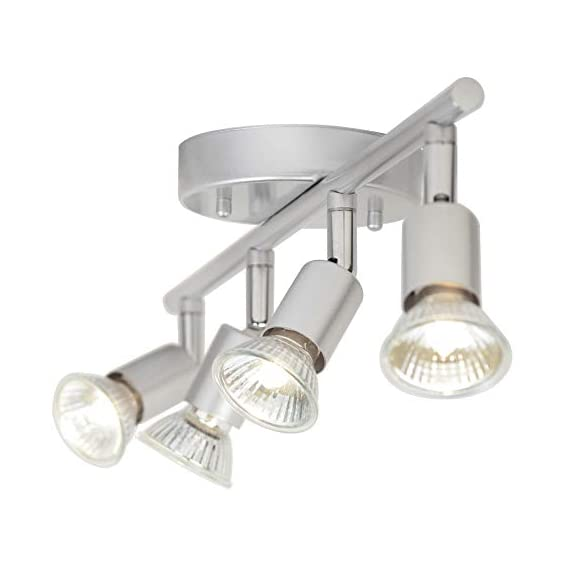 Globe Electric 58932 Payton 4-Light Track Lighting, Matte Silver - MINIMALIST DESIGN: the straight line of the track bar pairs with the exposed socket construction and is finished off with a matte silver to complete the perfect minimalist design PIVOTING TRACK HEADS/VERSATILE PLACEMENT: four independently pivoting track heads direct and focus light where needed and can also be used to mount on the wall as a vanity or wall track light BULB REQUIREMENTS: 4x GU10/Bi-Pin Base MR16 Shape 50W Bulbs (sold separately) - kitchen-dining-room-decor, kitchen-dining-room, chandeliers-lighting - 419yEWM BhL. SS570  -