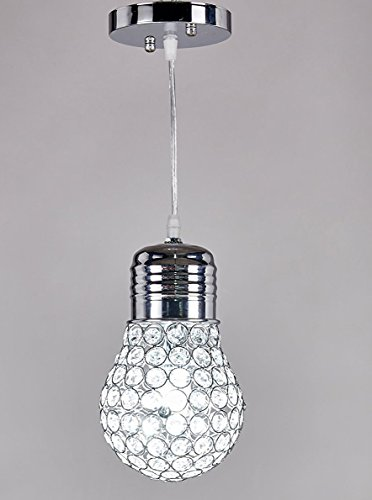 New Galaxy 1-light Chrome Finish Metal Shade Crystal Chandelier Hanging Pendant Ceiling Lamp Fixture