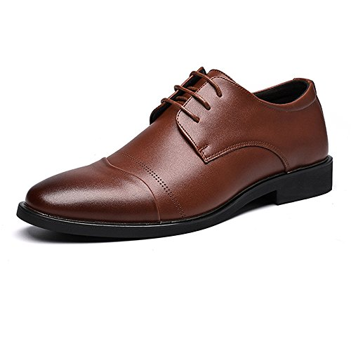Easy Go Shopping Leather Shoes, Men's Leather Shoes PU Closed Toe Stitching Design Soft Sole Flats for Gentlemen Brown
