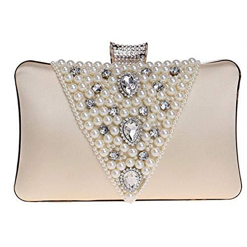 Sac de Perles dîner démontage chaîne Europe Brillant Perles Embrayage d'autres Jours fériés Bal Parti-Noir 20x12x6cm(8x5x2inch) Albicocca