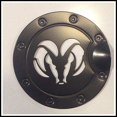 Ferreus Industries Black Ram Head Billet Gas Door Trim Cover fits: Dodge Ram 09-18 DH125-Black