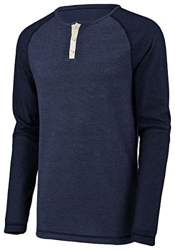 (Augusta Sportswear Men'S Linear Fusion Long Sleeve Henley M Navy/Black Fusion)