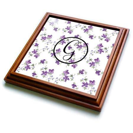3dRose 3dRose Gabriella B - Monogram - Image of Purple Watercolor Floral G Monogram - 8x8 Trivet with 6x6 ceramic tile (trv_290945_1) -