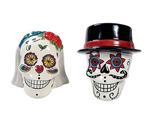 Day of Dead Sugar Skulls Bride and Groom Ceramic Salt and Pepper Shakers]()