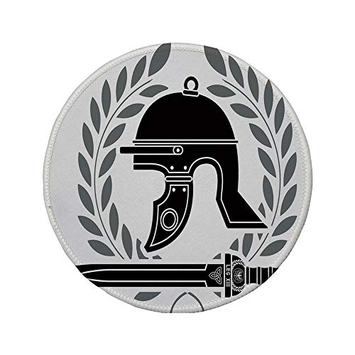 (Non-Slip Rubber Round Mouse Pad,Toga Party,Roman Helmet with Sword and Olive Branches Ancient Mediterranean Empire Icons Decorative,Black White,11.8