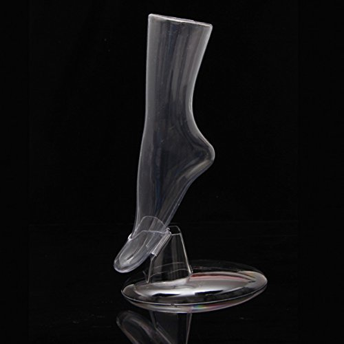 WellieSTR 1 Grade Transparent Female Mannequin Feet with Stand ,Mannequin Sock and Shoe Display Foot.Hosiery/Sox/Sock Display ()