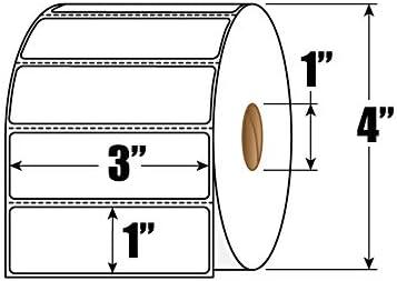 3 x 1 ダイレクト感熱紙ラベル – 12ロールカートン – 1ロールあたり1310ラベル – 合計15720ラベル